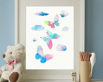 Butterfly Wall Print, Watercolor Print, Watercolour Butterfly Wall Art, Cloud Print Butterfly Girls Nursery Print