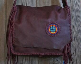 Burgundy leather messenger bag , Large fringed handbag , Turtle totem , Leather laptop bag