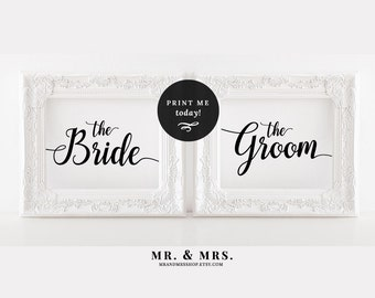 Bride and Groom Wedding Sign Set, Printable Bride and Groom Signs, Bride Groom Chair Door Signs, Calligraphy, Wedding Printable, MAM202_13