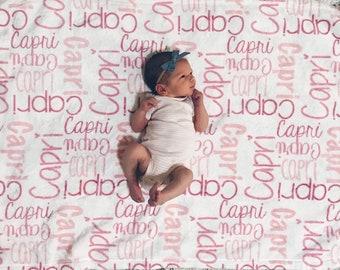 SALE! Baby Girl Blanket, Personalize Baby Blanket, Monogram Baby Blanket, Name Blanket, Swaddle Receiving Blanket, Baby Name Blanket