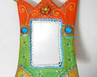 Vanity mirror ' lime-orange' 27 x 20 cm