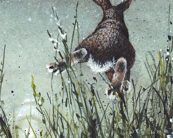 """Watercolor Greeting Card, """"Airborne"""" Rabbit Leaping Over Grass (comes with envelope)"""