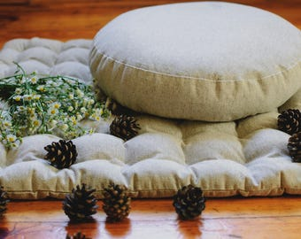Hemp Set Zafu & Zabuton  Buckwheat hulls/for Yoga studio/Large floor Hemp cushion Organic Meditation Massage Orthopedic/ Pillow seat/Natural