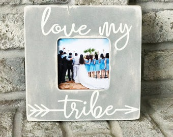 Personalized picture frame Custom Picture Frame 4X6 Picture Frame Photo Instagram Frame My Tribe Farmhouse Decor Farmhouse Frame Rustic