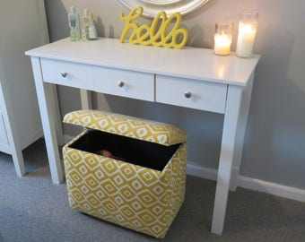 Handmade Upholstered Dressing Table Storage Stool Ottoman - Made In YOUR OWN FABRIC