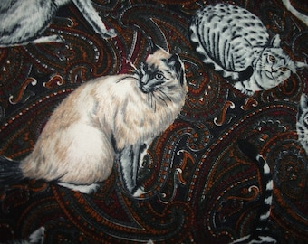 Kitty Cat Crazy On Paisley Vintage 1980's Rare Feline Print SHAMASH and Sons Soft Cotton Fabric O.O.P. Tabby Siamese Quilting Sew Craft BTY