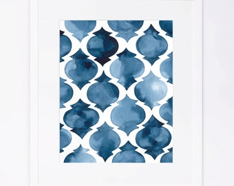 Blue Moroccan Pattern Watercolor Print