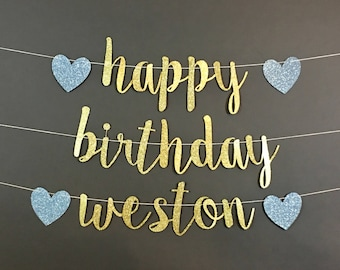 HAPPY BIRTHDAY BANNER, happy birthday decorations, birthday party decor, custom birthday banner, custom birthday decorations