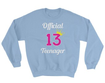 Girls 13th Birthday Official Teenager Sweatshirt / Cute Teen Girl Sweatshirt / Birthday Shirt for Teens / Princess Pink Birthday Shirt