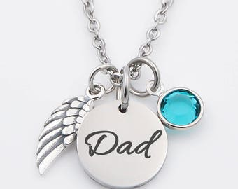 Stainless steel dad memorial necklace, dad, mom, in memory of necklace
