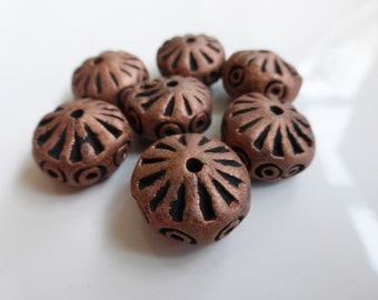 5 x Antique Copper Finished Terracotta Clay Beads 16mm Flat Round,Clay Beads, Terracotta Beads, Craft Supplies, UK Seller (OBT5002)