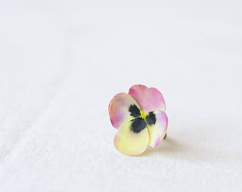Pink, yellow pansy ring - pansy jewelry - flower ring - flower jewelry - botanical jewelry - blossom ring - nature inspired ring