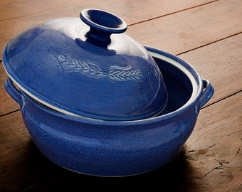 Pottery casserole dish, handmade ceramic casserole with lid, baking dish, ovenware, unique bakeware, cobalt blue casserole