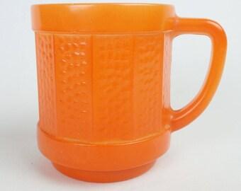 ORANGE FEDERAL MILK glass coffee cup mcm mid-century 184