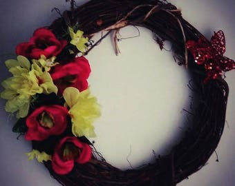 Red Ranunculus and Yellow Dahlias  Grapevine Wreath