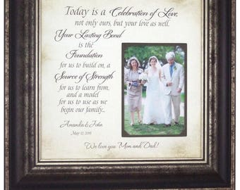 Wedding Gift For Parents, Mother of the Bride Gift, Wedding Photo Frames, Wedding Gift for Dad, Today A Celebration of Love, 16 X 16