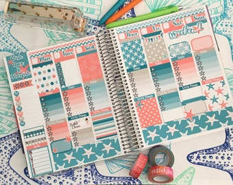 Peaceful Starfish Weekly Kit, Erin Condren Vertical Planner, no white showing, Full weekly Kit
