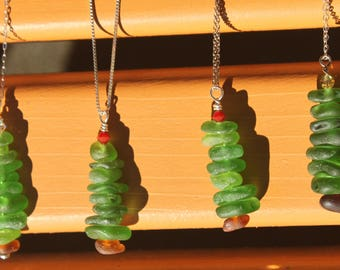 Sea Glass Christmas Tree Necklaces