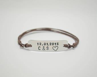 Couples bracelet, Engraved bracelet, Custom name, Name bracelet, Initial bracelet, Anniversary Bracelet, Wedding Anniversary, Husband, Wife