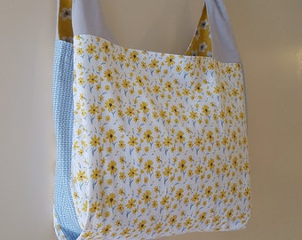 Large Reusable Shopping Bag, Grocery Bag, Cotton Tote Bag, Lined, Reversible, Project Tote, Ecofriendly, Zero Waste, Flowers & Blue Pattern