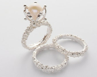Wonderful Pearl Engagement Ring With Matching Wedding Bands Set   Engagement Ring  With Matching Wedding Rings   Couples Ring   SRN 213