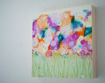 Big Dreaming -  Wildflower Study Series -  Alcohol ink Painting - Abstract Flowers