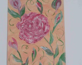 """Roses"" acrylic painting on canvas Board (27 x 41 cm)"