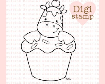Cupcake Cow Digital Stamp - Birthday digi - Cow digital art for - Card Making - Paper Crafts - Scrapbooking - Stickers - Coloring Pages