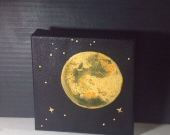 Orange Full Moon And Stars Acrylic Painting 6x6 Inches O Home Accents Cosmic Decor Black White Wall Made To Order