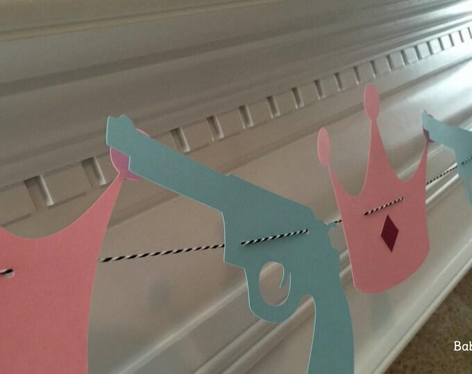 Party Banner: Blue Gun and Pink Glitter Crown Garland - gender reveal baby shower die cut crown pistol rifle guns or glitter