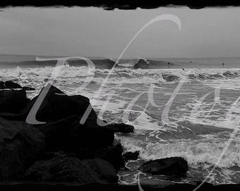 Long Beach Jetty Picture, Panoramic, Long Beach, Long Island, Black and White