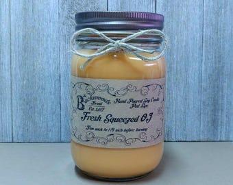 Fresh Squeezed Orange Juice OJ Pint Soy Candle