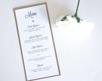 Rustic Kraft Wedding Table Menu, Wedding Dinner Menu, Rustic Wedding Dinner Menu, Table Menu, Wedding Menu, Rustic Wedding