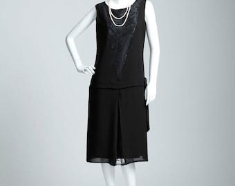 Sleeveless black chiffon and lace flapper dress, black art deco party dress, Great Gatsby evening dress, little black dress, robe Gatsby