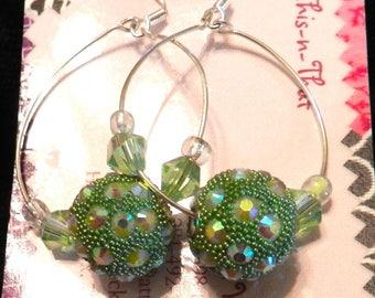 Earrings, Dangles, Hoop Earrings, Green, Silver, Handcrafted Earrings
