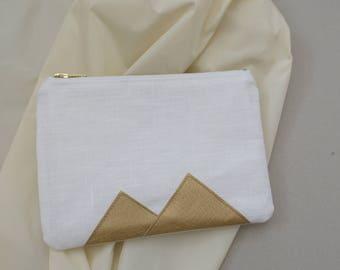White Gold Linen Clutch -Brides Clutch - Wedding Purse - White Zippered Geometric Purse - Minimalist Clutch
