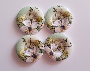 Set of 5 flowers and butterflies wooden buttons