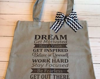 Gray Dream Get Motivated Tote