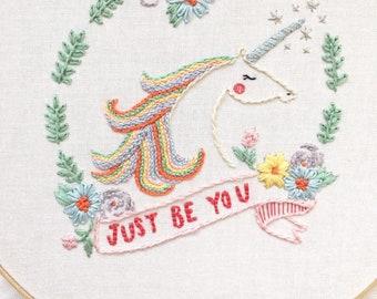Embroidery Pattern PDF downloadable pattern UNICORN