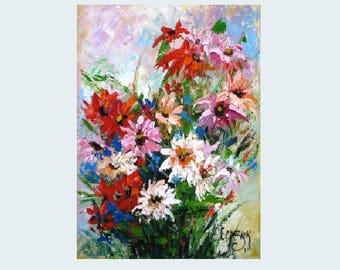 Small palette knife painting Oil knife flower painting on canvas floral Small canvas oil painting Summer flower art Small impasto painting