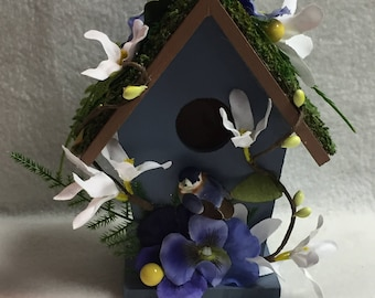 Decorated Blue Birdhouse (#003)