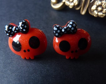 Cute Red Skulls YELLOW Bow Goth Kawaii Earrings - With Back Stoppers