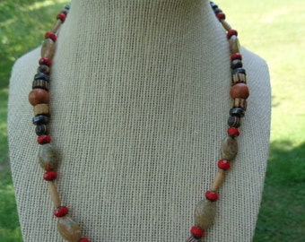 """19"""" earthy and autumnal necklace featuring wood, hematite, autumn jasper, and red fire polished Czech beads"""