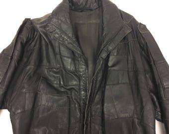 Vintage Black Leather Jacket - 1970's -zip up patchwork  - Genuine Leather - Mens Clothing M/L