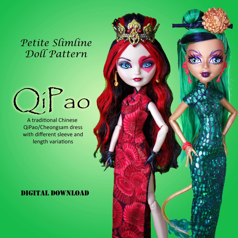 Qipao cheongsam chinese dress doll clothes pdf sewing pattern zoom jeuxipadfo Choice Image