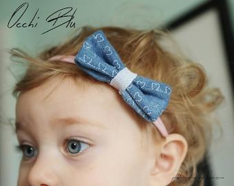 Denim Hearts Bow Headband