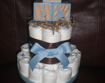 Diaper Cake Blue and Brown Blocks