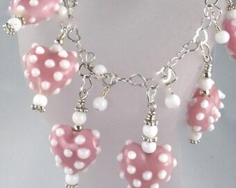New Lower Price - handmade pink hearts charm bracelet