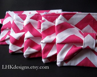 SET OF 5 bridesmaids bow clutches - your choice fabric