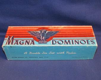 DOMINOES MAGNA EAGLE Milton Bradley Double Six 1950s